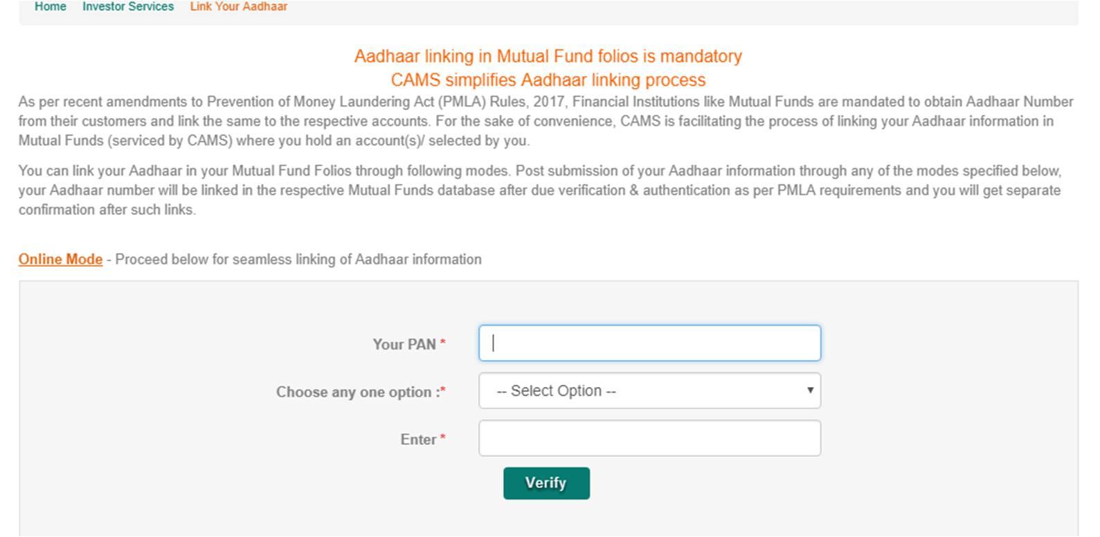 Aadhaar linking to Mutual funds CAMS