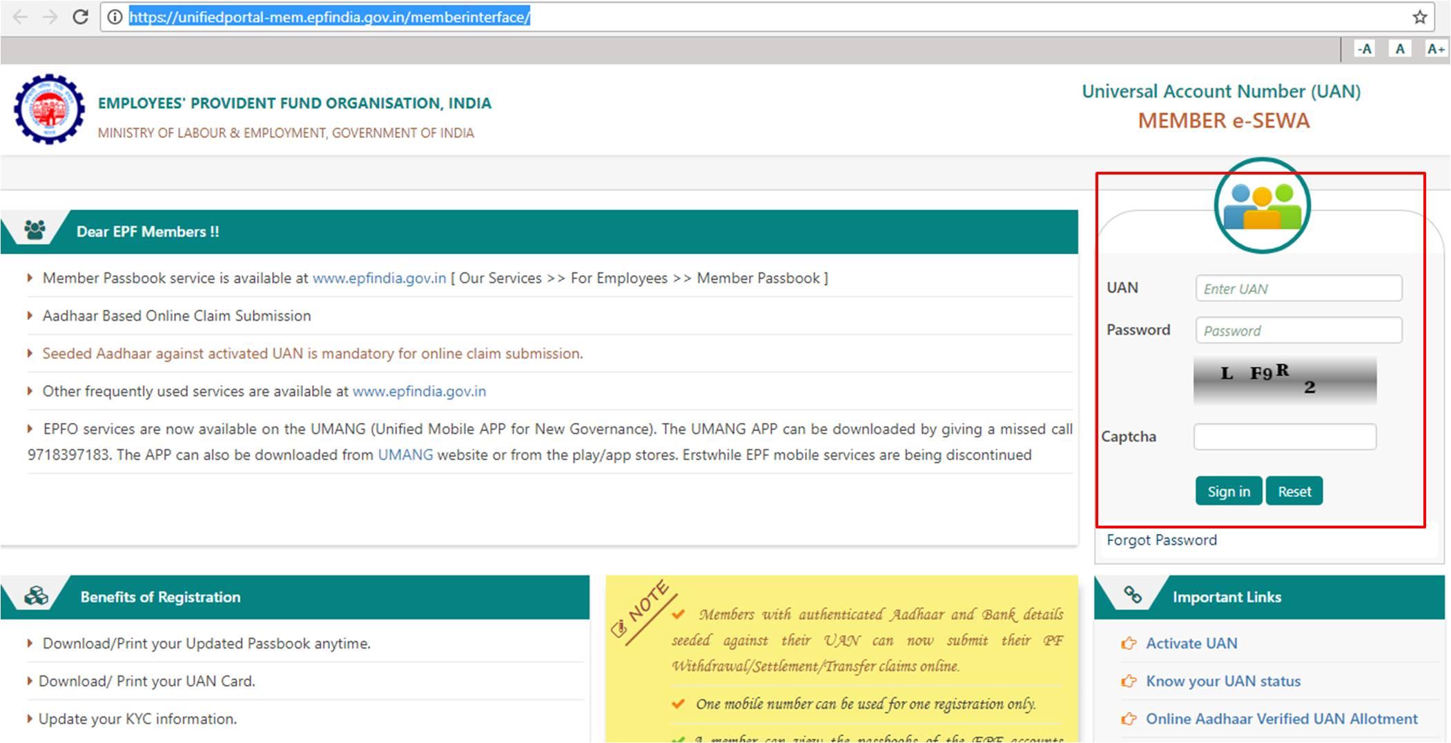 Provident fund account linking with aadhaar EPFO