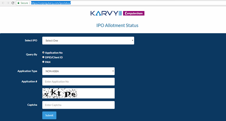 Ipo allotment status check